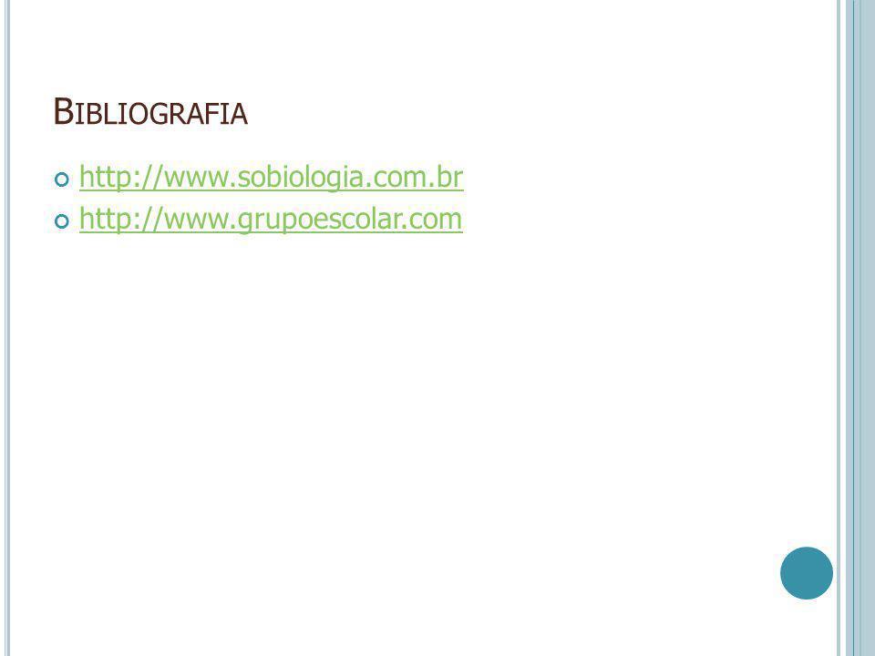 B IBLIOGRAFIA http://www.sobiologia.com.br http://www.grupoescolar.com