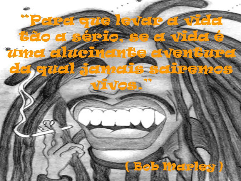 Para que levar a vida tão a sério, se a vida é uma alucinante aventura da qual jamais sairemos vivos. ( Bob Marley )