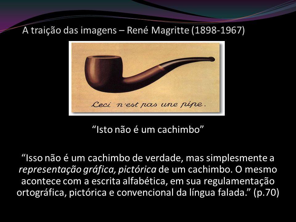 A traição das imagens – René Magritte (1898-1967) Isto não é um cachimbo Isso não é um cachimbo de verdade, mas simplesmente a representação gráfica,