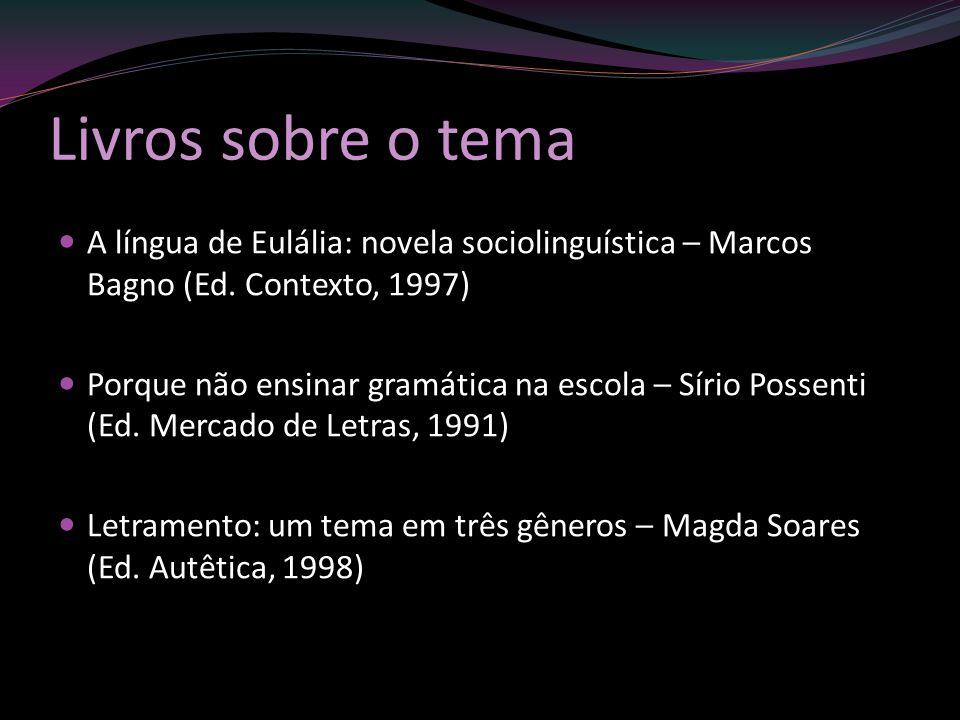 Livros sobre o tema A língua de Eulália: novela sociolinguística – Marcos Bagno (Ed. Contexto, 1997) Porque não ensinar gramática na escola – Sírio Po