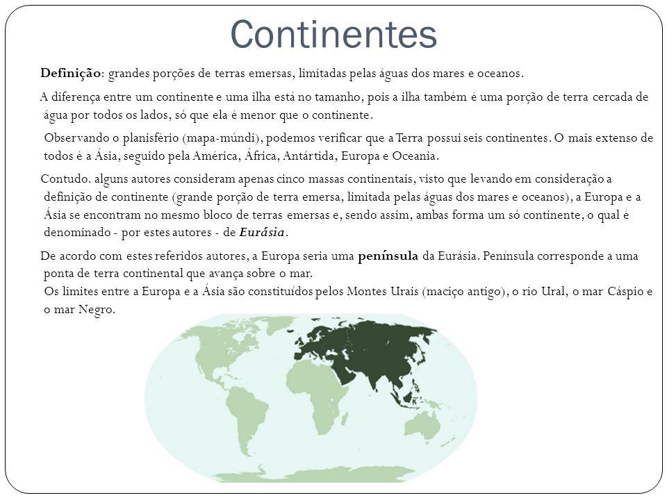 Continentes Definição: grandes porções de terras emersas, limitadas pelas águas dos mares e oceanos. A diferença entre um continente e uma ilha está n