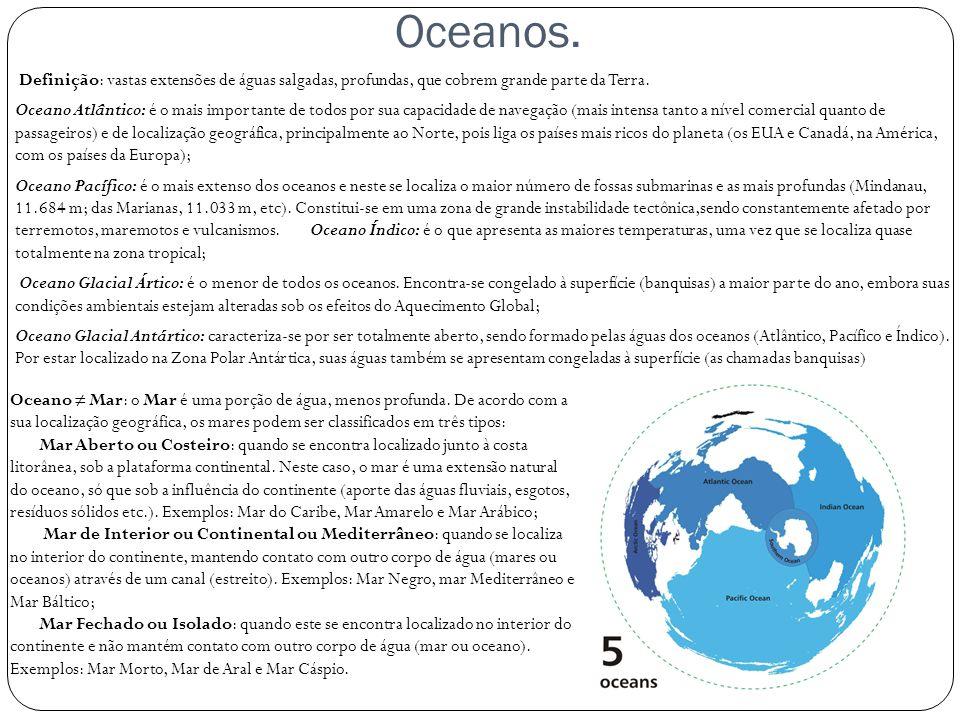 Oceanos. Definição: vastas extensões de águas salgadas, profundas, que cobrem grande parte da Terra. Oceano Atlântico: é o mais importante de todos po