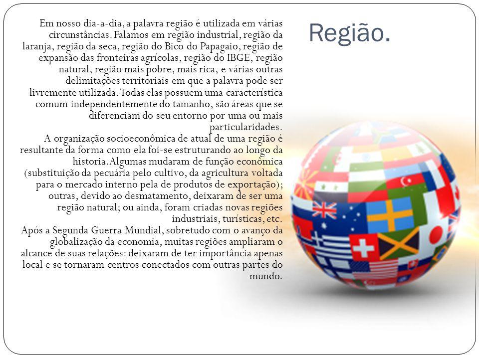 Região. Em nosso dia-a-dia, a palavra região é utilizada em várias circunstâncias. Falamos em região industrial, região da laranja, região da seca, re