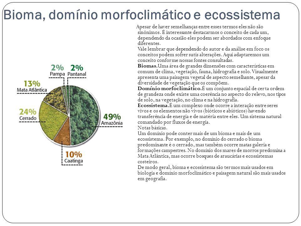 Bioma, domínio morfoclimático e ecossistema Apesar de haver semelhanças entre esses termos eles não são sinônimos. É interessante destacarmos o concei