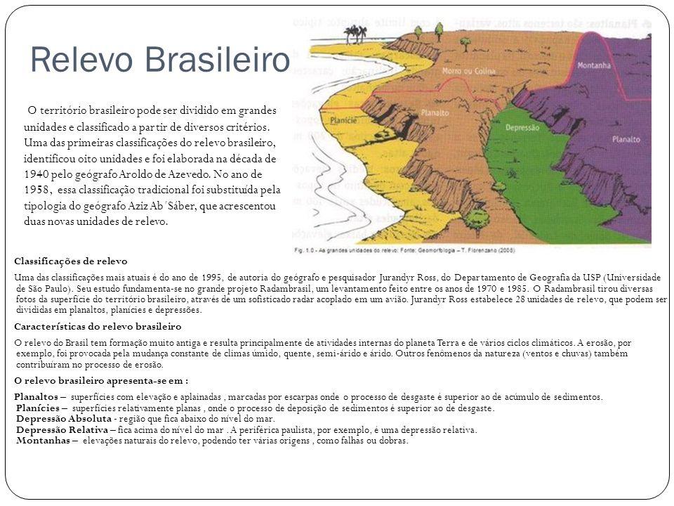 Relevo Brasileiro Classificações de relevo Uma das classificações mais atuais é do ano de 1995, de autoria do geógrafo e pesquisador Jurandyr Ross, do
