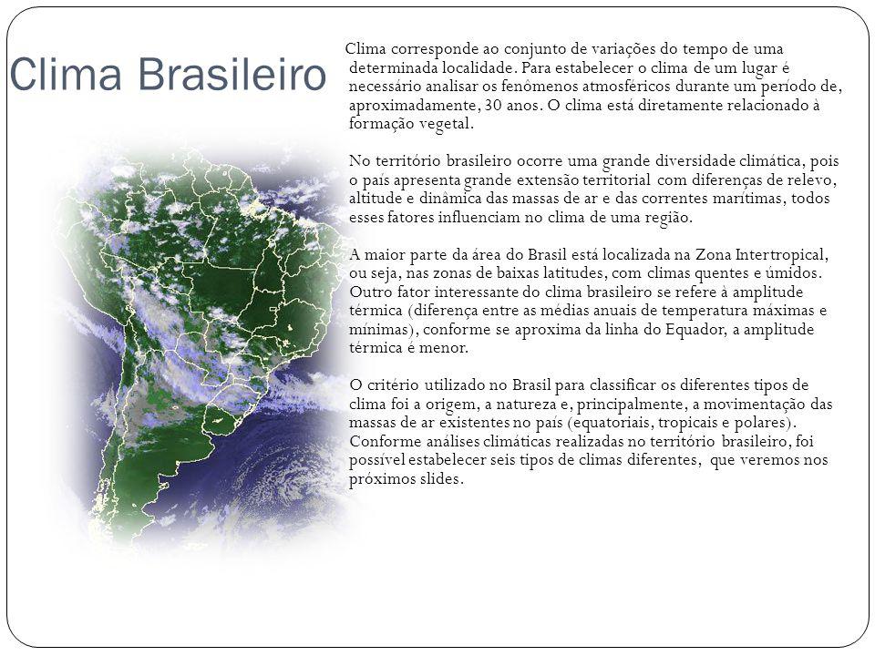 Clima Brasileiro Clima corresponde ao conjunto de variações do tempo de uma determinada localidade. Para estabelecer o clima de um lugar é necessário