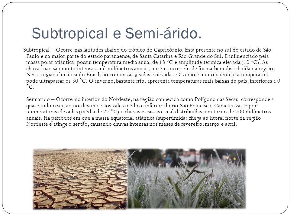 Subtropical e Semi-árido. Subtropical – Ocorre nas latitudes abaixo do trópico de Capricórnio. Está presente no sul do estado de São Paulo e na maior