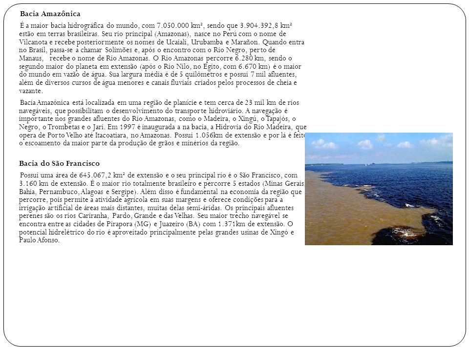 Bacia Amazônica É a maior bacia hidrográfica do mundo, com 7.050.000 km², sendo que 3.904.392,8 km² estão em terras brasileiras. Seu rio principal (Am