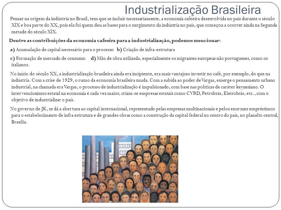 Industrialização Brasileira Pensar na origem da indústria no Brasil, tem que se incluir necessariamente, a economia cafeeira desenvolvida no pais dura