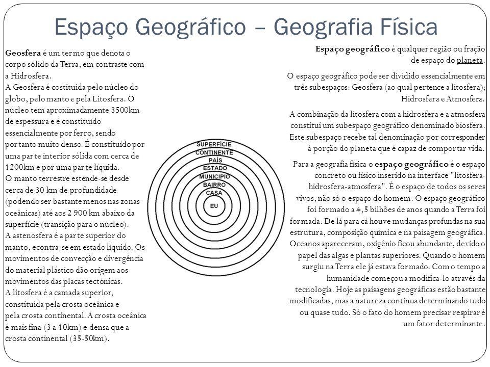 Espaço Geográfico – Geografia Física Espaço geográfico é qualquer região ou fração de espaço do planeta. O espaço geográfico pode ser dividido essenci