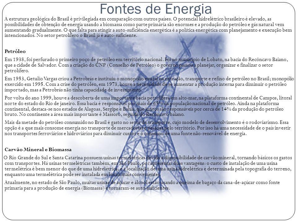 Fontes de Energia A estrutura geológica do Brasil é privilegiada em comparação com outros países. O potencial hidrelétrico brasileiro é elevado, as po
