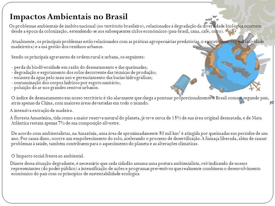 Impactos Ambientais no Brasil Os problemas ambientais de âmbito nacional (no território brasileiro), relacionados à degradação da diversidade biológic
