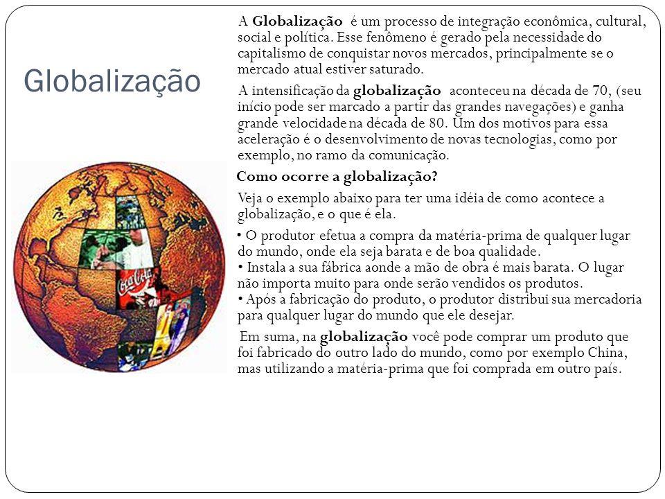Globalização A Globalização é um processo de integração econômica, cultural, social e política. Esse fenômeno é gerado pela necessidade do capitalismo