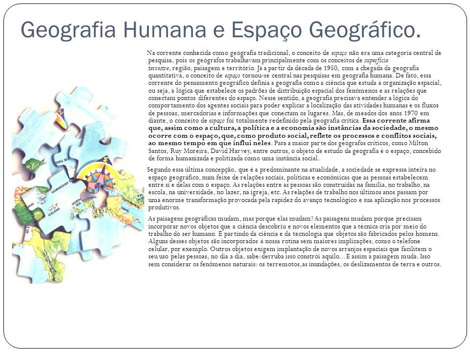 Geografia Humana e Espaço Geográfico. Na corrente conhecida como geografia tradicional, o conceito de espaço não era uma categoria central de pesquisa