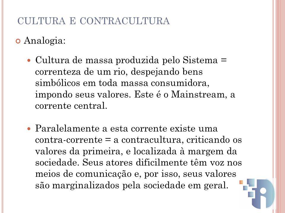 CULTURA E CONTRACULTURA Analogia: Cultura de massa produzida pelo Sistema = correnteza de um rio, despejando bens simbólicos em toda massa consumidora
