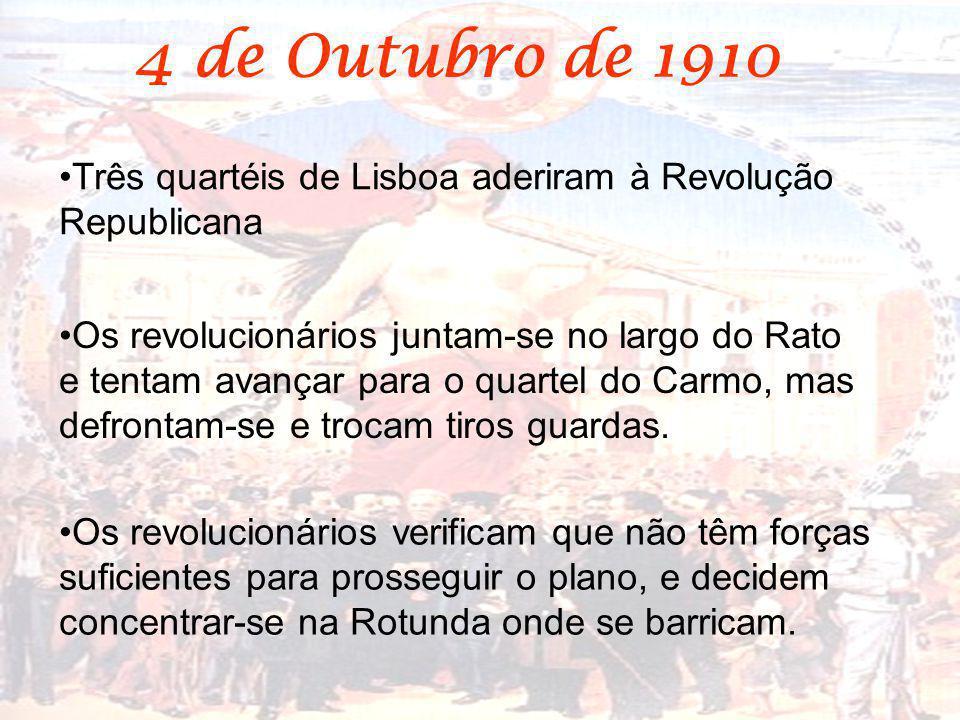 Três quartéis de Lisboa aderiram à Revolução Republicana Os revolucionários juntam-se no largo do Rato e tentam avançar para o quartel do Carmo, mas d
