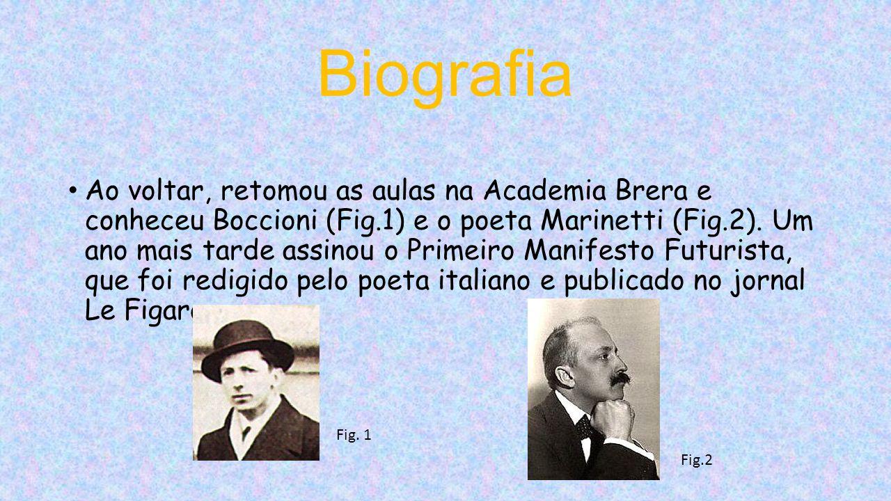 Biografia Ao voltar, retomou as aulas na Academia Brera e conheceu Boccioni (Fig.1) e o poeta Marinetti (Fig.2).