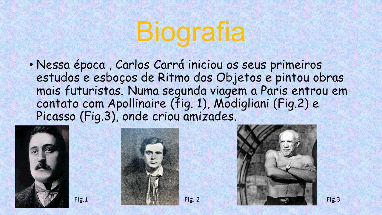 Biografia Nessa época, Carlos Carrá iniciou os seus primeiros estudos e esboços de Ritmo dos Objetos e pintou obras mais futuristas.