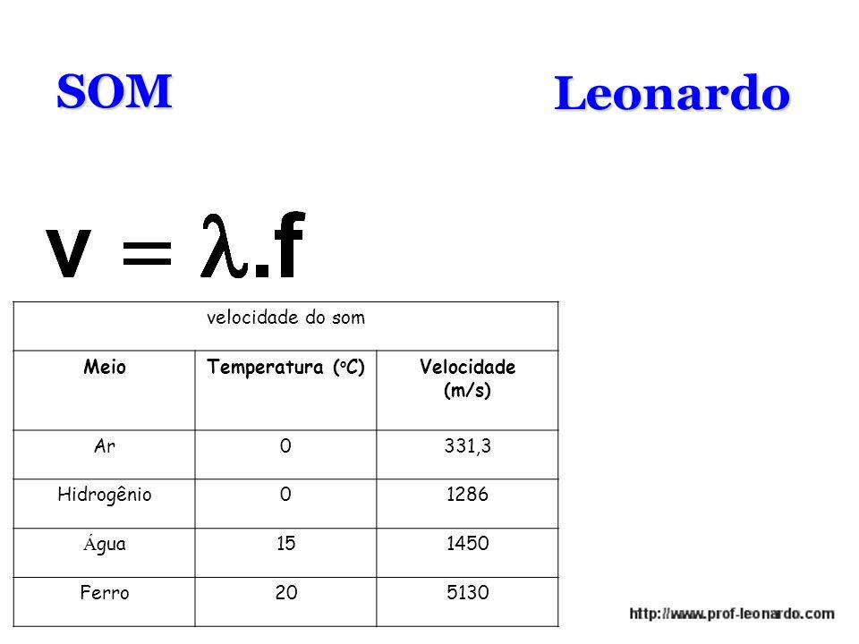 SOMLeonardo velocidade do som MeioTemperatura ( o C)Velocidade (m/s) Ar0331,3 Hidrogênio01286 Á gua151450 Ferro205130