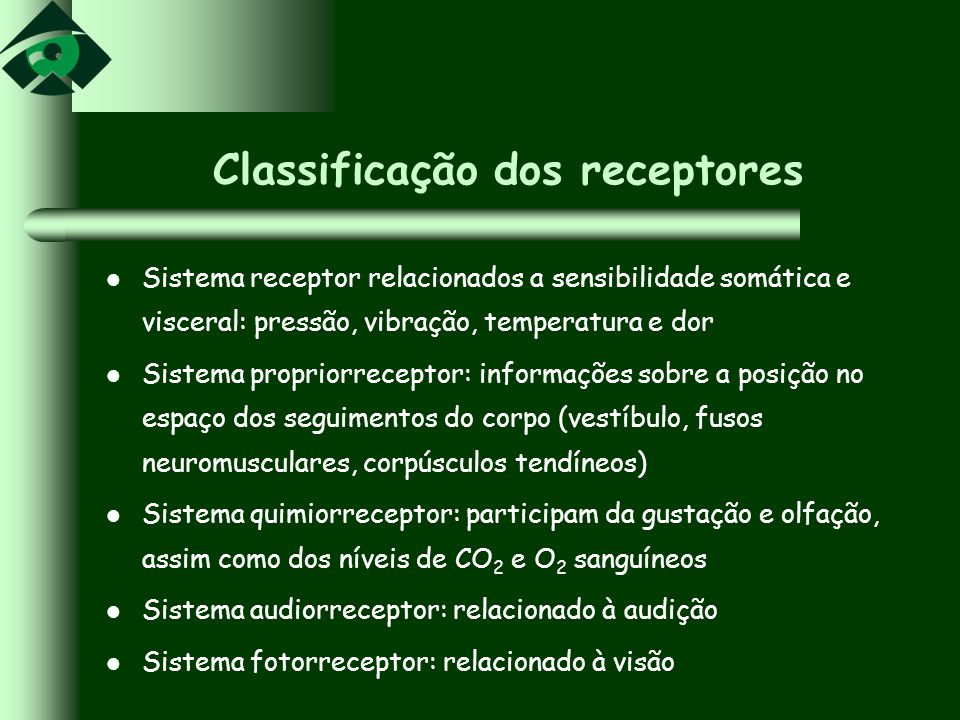 Classificação dos receptores Sistema receptor relacionados a sensibilidade somática e visceral: pressão, vibração, temperatura e dor Sistema propriorr