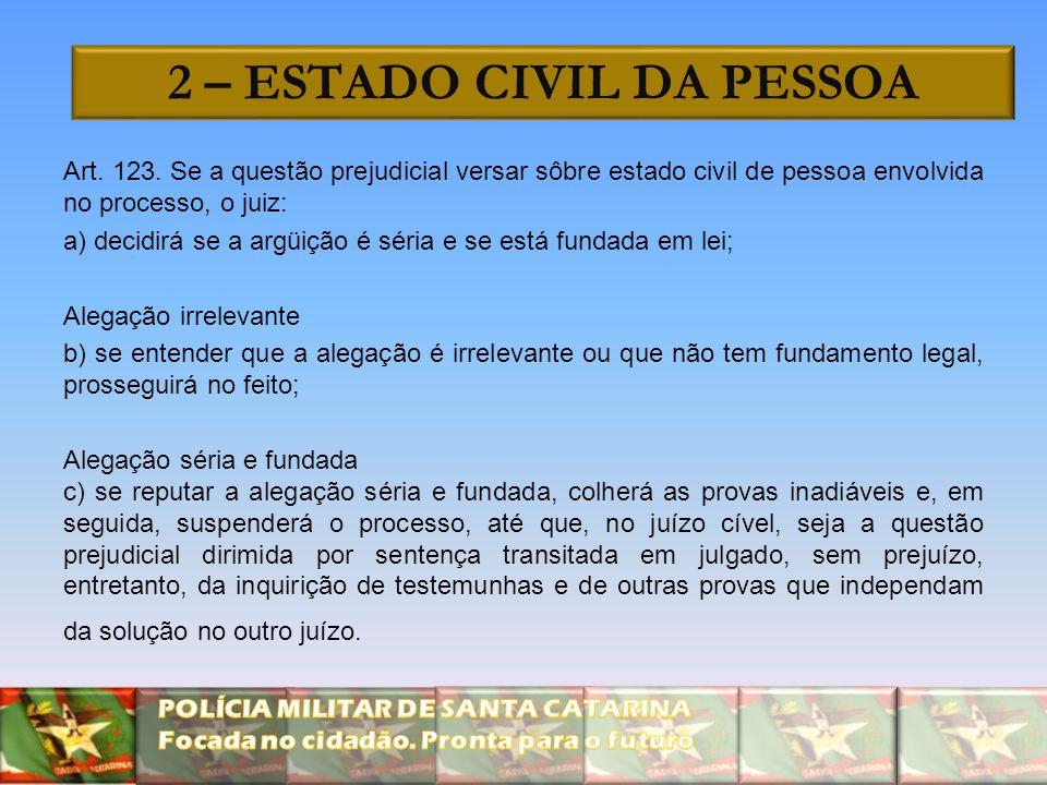 2 – ESTADO CIVIL DA PESSOA Art. 123. Se a questão prejudicial versar sôbre estado civil de pessoa envolvida no processo, o juiz: a) decidirá se a argü