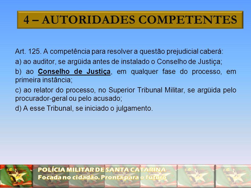 4 – AUTORIDADES COMPETENTES Art. 125. A competência para resolver a questão prejudicial caberá: a) ao auditor, se argüida antes de instalado o Conselh