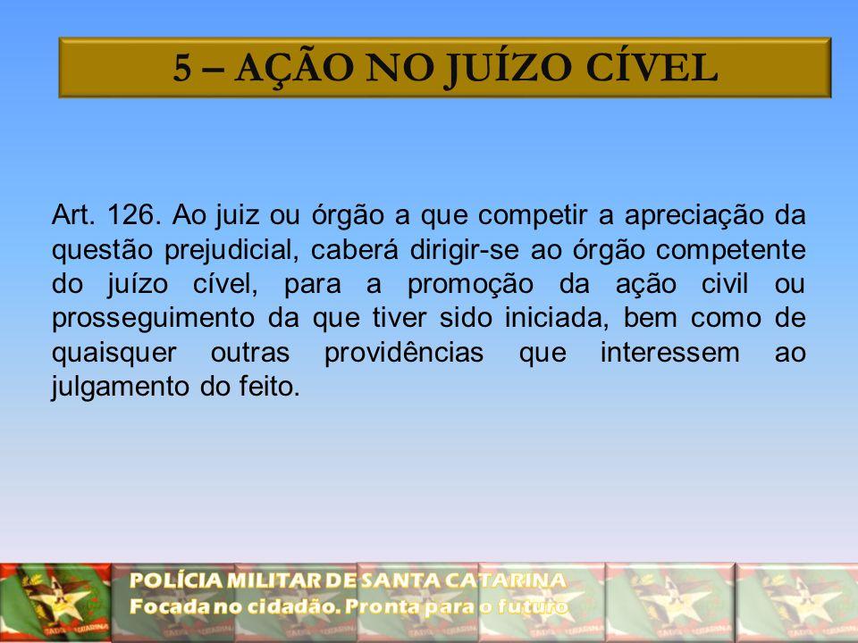 5 – AÇÃO NO JUÍZO CÍVEL Art. 126. Ao juiz ou órgão a que competir a apreciação da questão prejudicial, caberá dirigir-se ao órgão competente do juízo