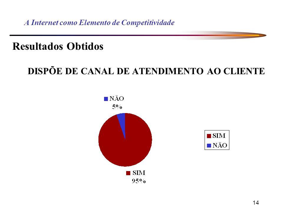 14 A Internet como Elemento de Competitividade Resultados Obtidos DISPÕE DE CANAL DE ATENDIMENTO AO CLIENTE