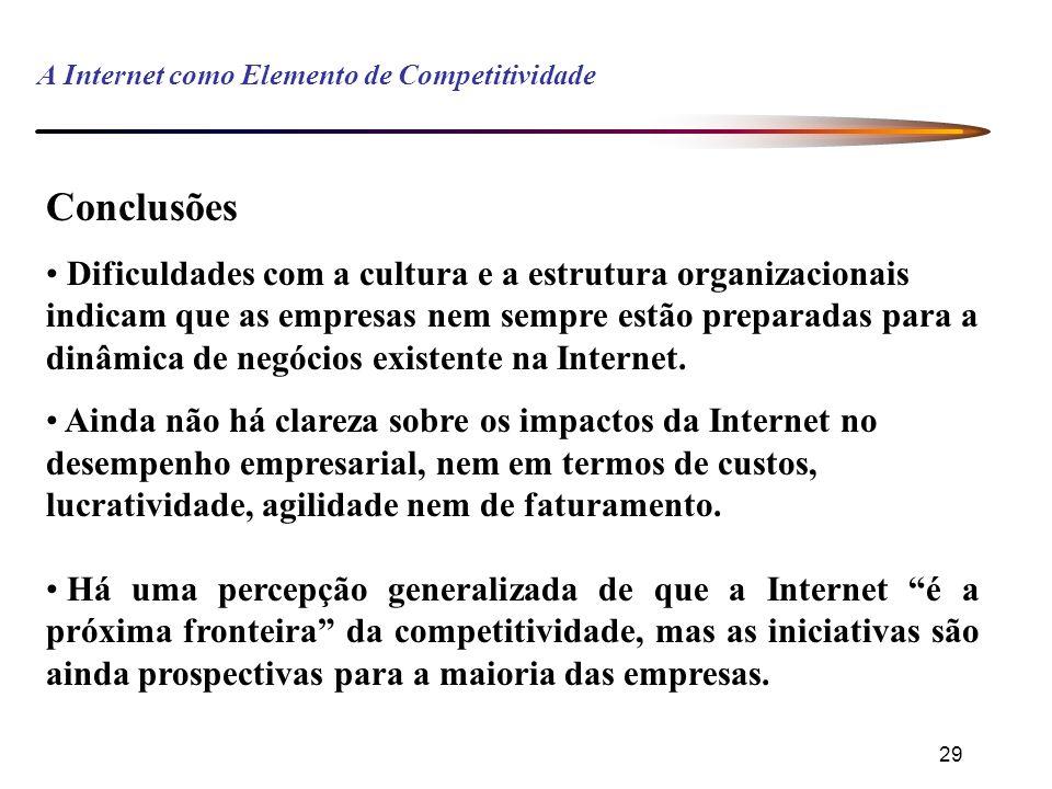 29 A Internet como Elemento de Competitividade Conclusões Dificuldades com a cultura e a estrutura organizacionais indicam que as empresas nem sempre estão preparadas para a dinâmica de negócios existente na Internet.