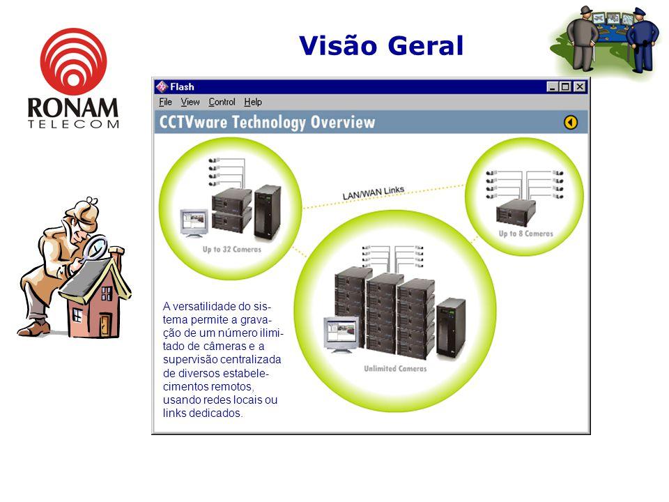 Visão Geral A principal diferença da tecnologia é a facilidade para recuperar as imagens gravadas pelo CCTVware, onde o usuário pode indicar dia e hor