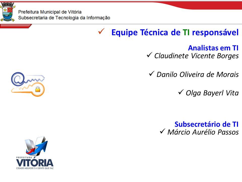 Equipe Técnica de TI responsável Analistas em TI Claudinete Vicente Borges Danilo Oliveira de Morais Olga Bayerl Vita Subsecretário de TI Márcio Aurél