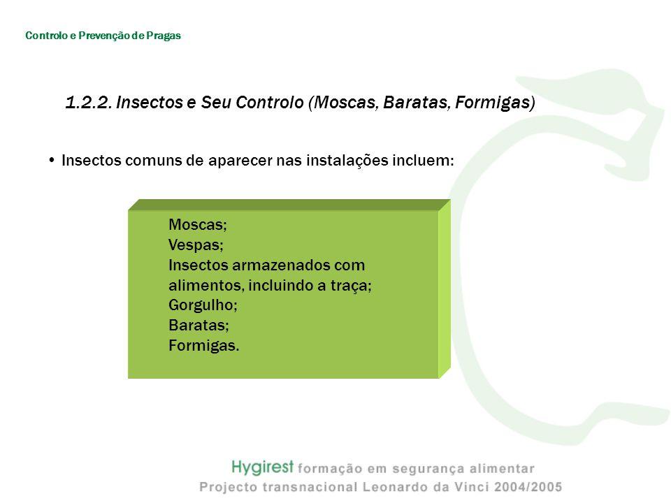 Insectos comuns de aparecer nas instalações incluem: Moscas; Vespas; Insectos armazenados com alimentos, incluindo a traça; Gorgulho; Baratas; Formigas.