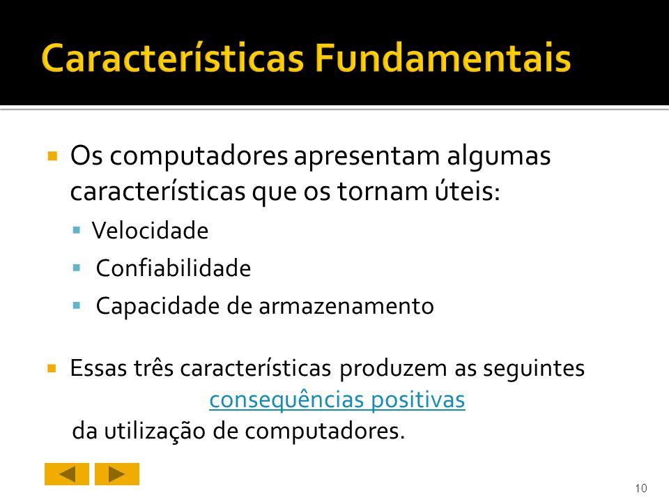 Os computadores apresentam algumas características que os tornam úteis: Velocidade Confiabilidade Capacidade de armazenamento Essas três características produzem as seguintes consequências positivas da utilização de computadores.