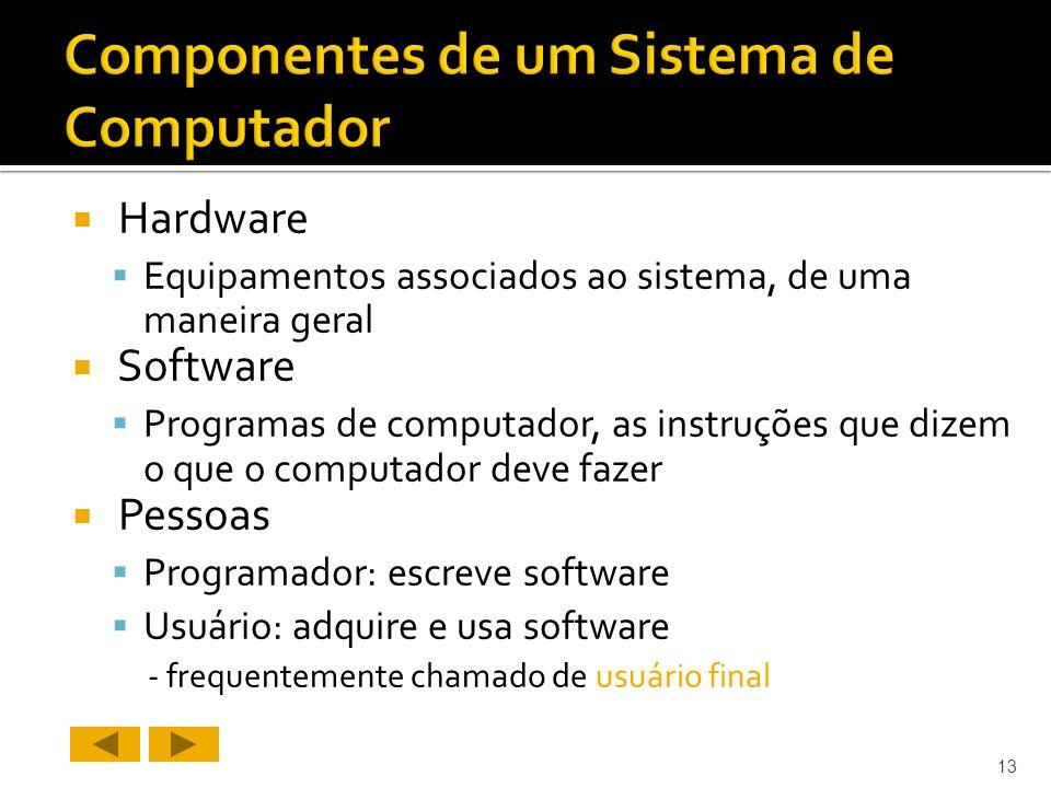 Hardware Equipamentos associados ao sistema, de uma maneira geral Software Programas de computador, as instruções que dizem o que o computador deve fazer Pessoas Programador: escreve software Usuário: adquire e usa software - frequentemente chamado de usuário final 13