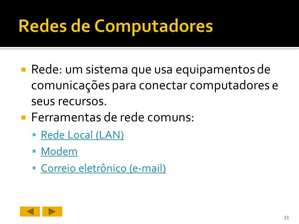 Rede: um sistema que usa equipamentos de comunicações para conectar computadores e seus recursos.