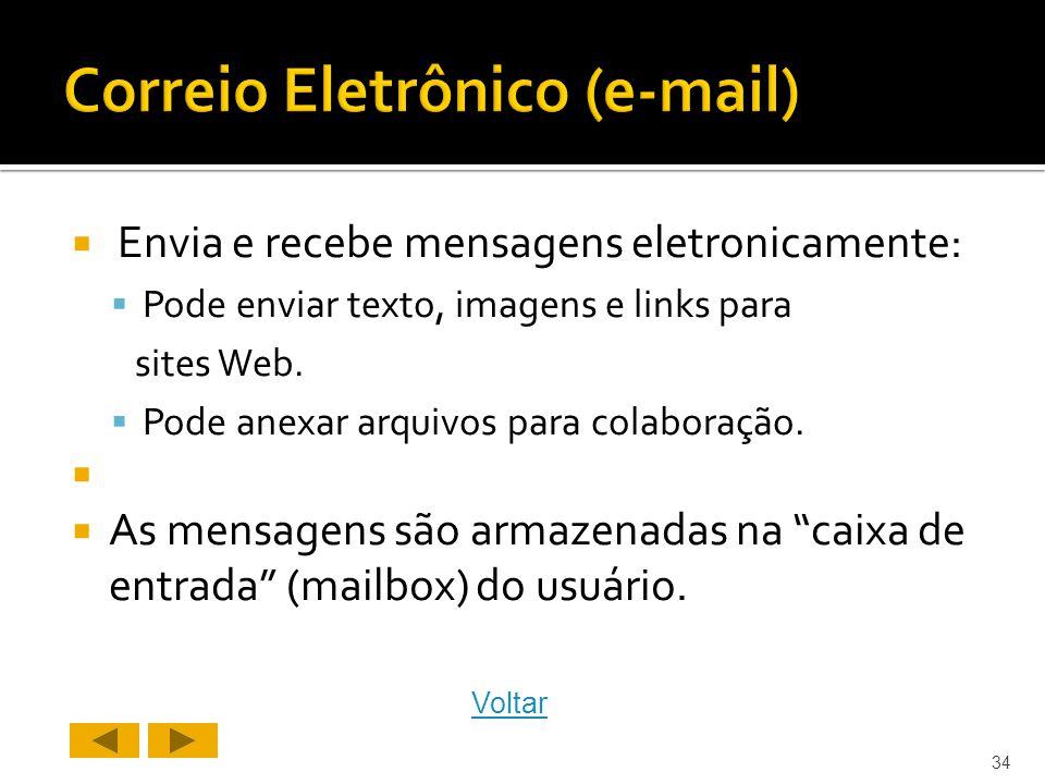 Envia e recebe mensagens eletronicamente: Pode enviar texto, imagens e links para sites Web.