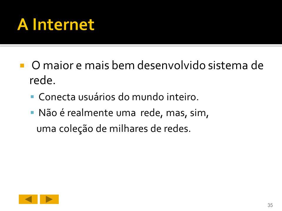 O maior e mais bem desenvolvido sistema de rede.Conecta usuários do mundo inteiro.