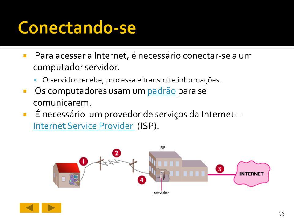 Para acessar a Internet, é necessário conectar-se a um computador servidor.