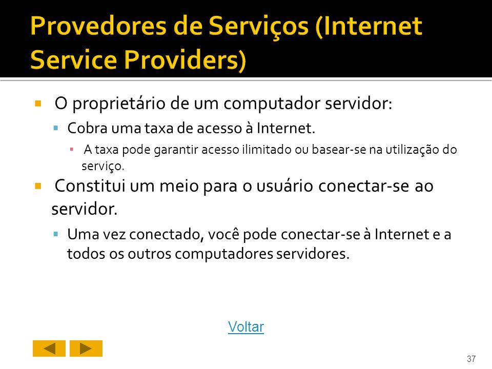 O proprietário de um computador servidor: Cobra uma taxa de acesso à Internet.