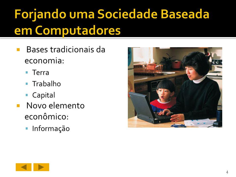 Bases tradicionais da economia: Terra Trabalho Capital Novo elemento econômico: Informação 4