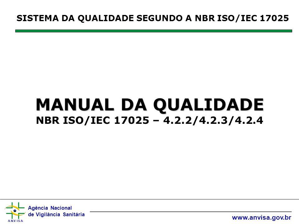 Agência Nacional de Vigilância Sanitária www.anvisa.gov.br SISTEMA DA QUALIDADE SEGUNDO A NBR ISO/IEC 17025 MANUAL DA QUALIDADE MANUAL DA QUALIDADE NBR ISO/IEC 17025 – 4.2.2/4.2.3/4.2.4