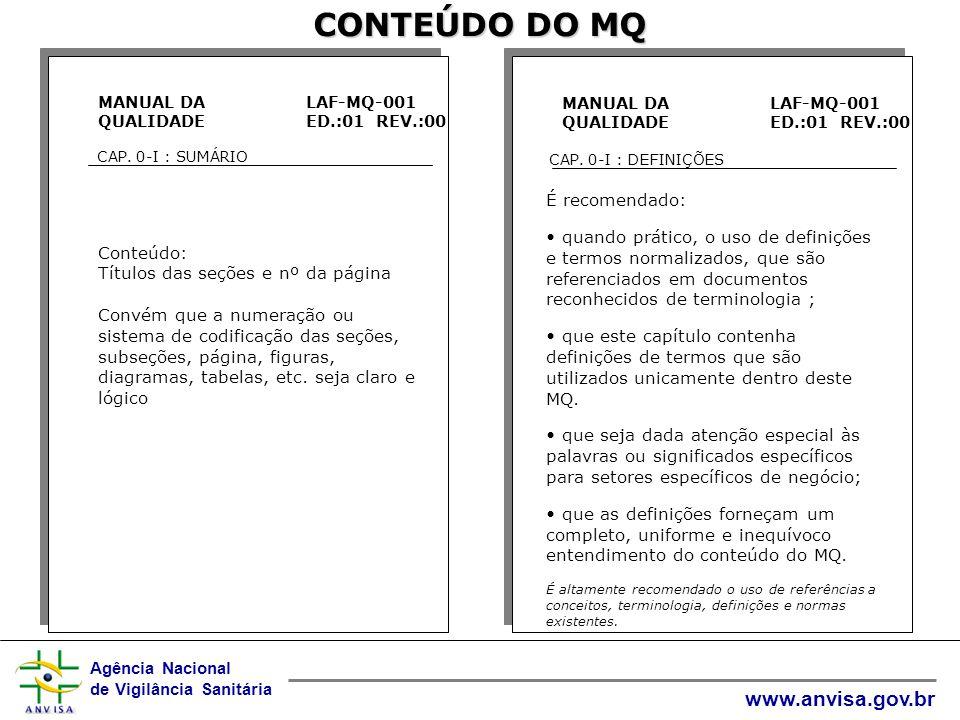 Agência Nacional de Vigilância Sanitária www.anvisa.gov.br CONTEÚDO DO MQ MANUAL DA QUALIDADE LAF-MQ-001 ED.:01 REV.:00 CAP.
