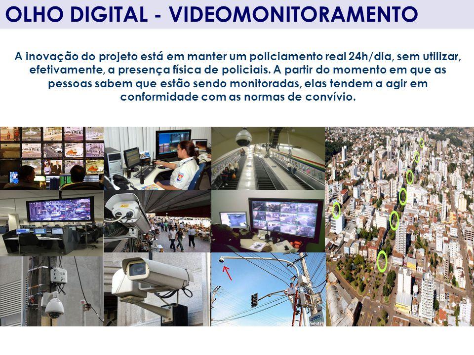 OLHO DIGITAL - VIDEOMONITORAMENTO A inovação do projeto está em manter um policiamento real 24h/dia, sem utilizar, efetivamente, a presença física de
