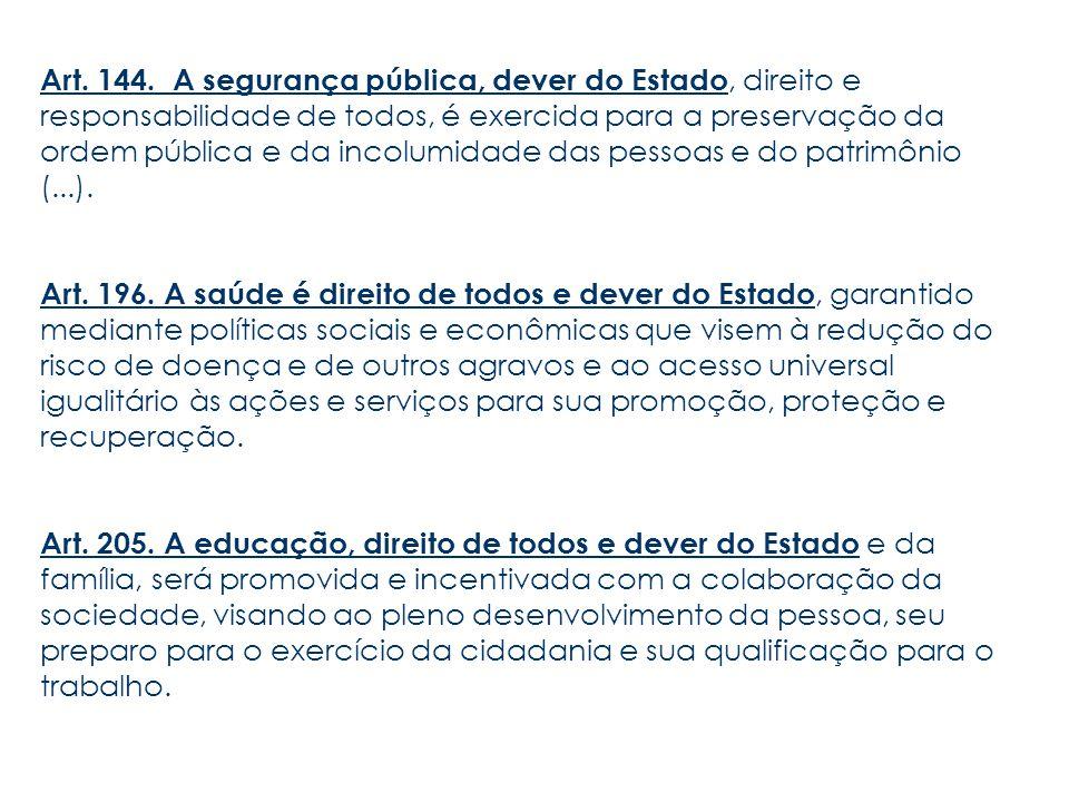 Art. 144. A segurança pública, dever do Estado, direito e responsabilidade de todos, é exercida para a preservação da ordem pública e da incolumidade