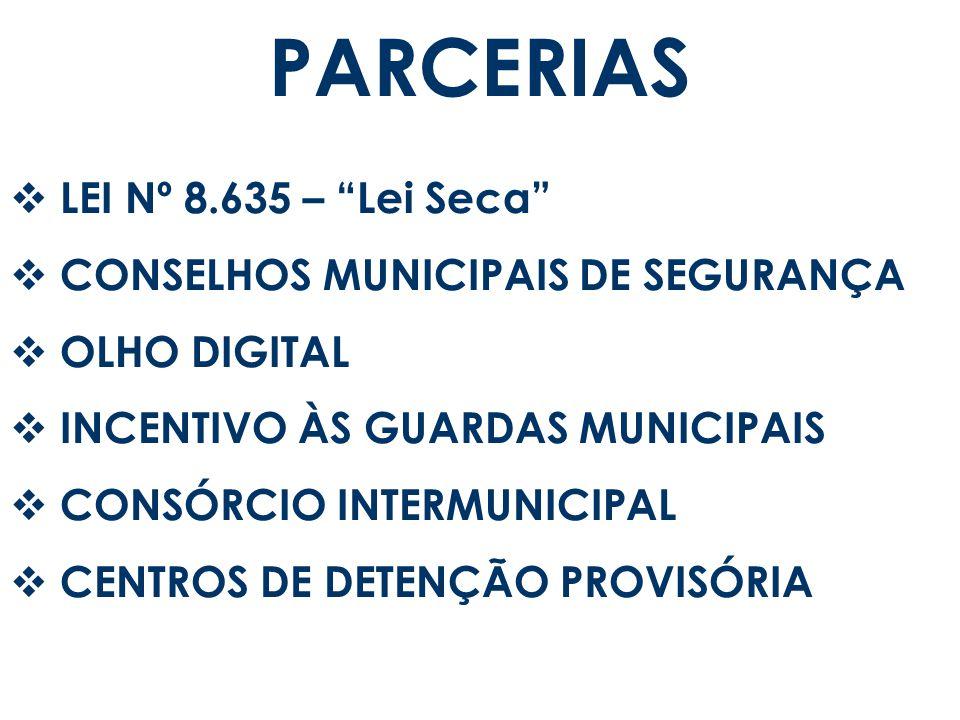 PARCERIAS LEI Nº 8.635 – Lei Seca CONSELHOS MUNICIPAIS DE SEGURANÇA OLHO DIGITAL INCENTIVO ÀS GUARDAS MUNICIPAIS CONSÓRCIO INTERMUNICIPAL CENTROS DE D