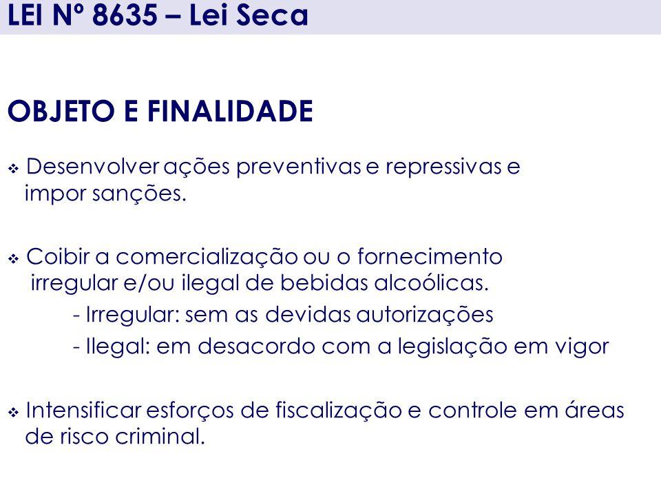 LEI Nº 8635 – Lei Seca OBJETO E FINALIDADE Desenvolver ações preventivas e repressivas e impor sanções. Coibir a comercialização ou o fornecimento irr