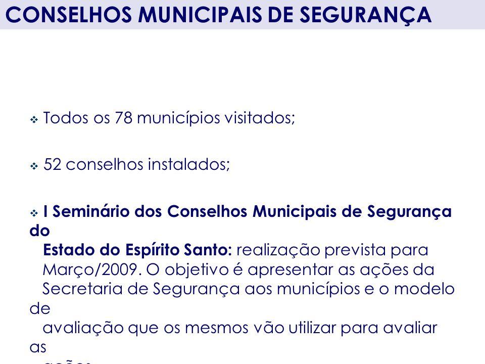 Todos os 78 municípios visitados; 52 conselhos instalados; I Seminário dos Conselhos Municipais de Segurança do Estado do Espírito Santo: realização p