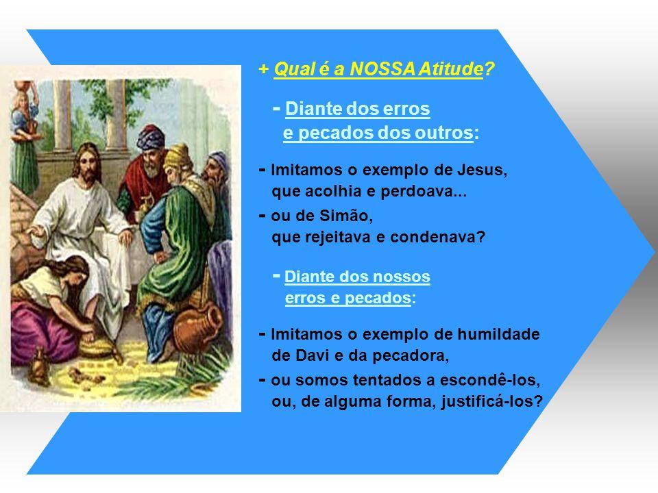 * Visões diferentes: - Na de Simão: Deus devia estar longe daquela mulher. - Na de Jesus: a Mulher estava bem perto de Deus. + Ainda hoje há situações
