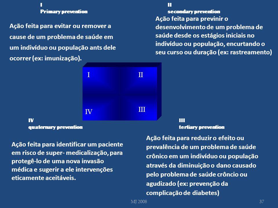 III III IV Ação feita para reduzir o efeito ou prevalência de um problema de saúde crônico em um indivíduo ou população através da diminuição o dano c