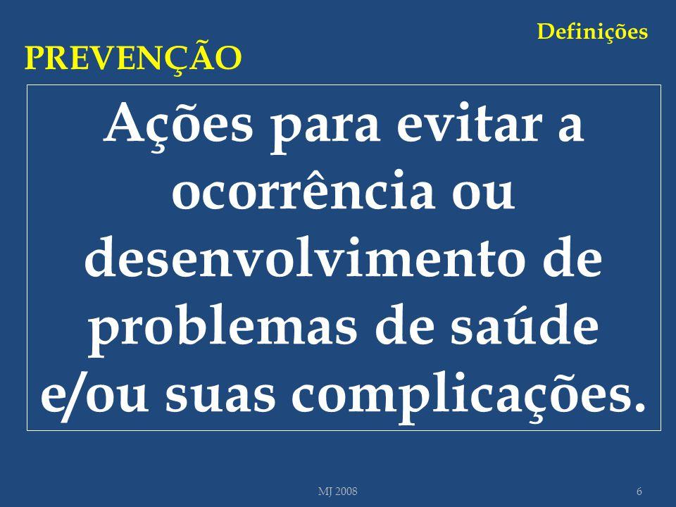Ações para evitar a ocorrência ou desenvolvimento de problemas de saúde e/ou suas complicações. PREVENÇÃO 6MJ 2008 Definições